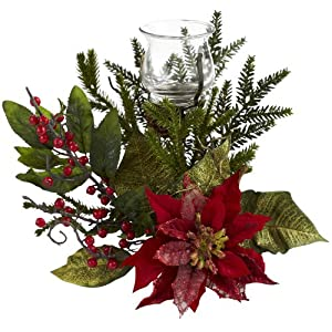 Nearly Natural Poinsettia Candelabrum, 11″ H, Green/Red