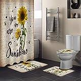 Fantasy Staring 4 Stück Duschvorhang-Set mit Rutschfester Teppich, WC-Deckelbezug & Badematte, Rustikale Sonnenblume & Biene, langlebiges Duschvorhang-Set für Badezimmer