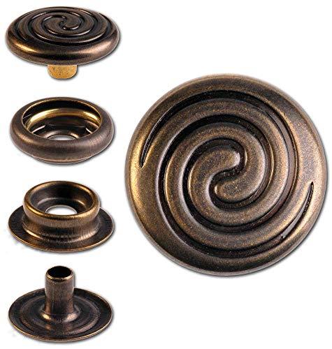 Hoppe & Masztalerz 15 Ringfeder-Druckknöpfe F3 Keltische Spirale 15.2mm aus Messing (nickelfrei), Finish: Messing-antik, Verschlusskraft: medium