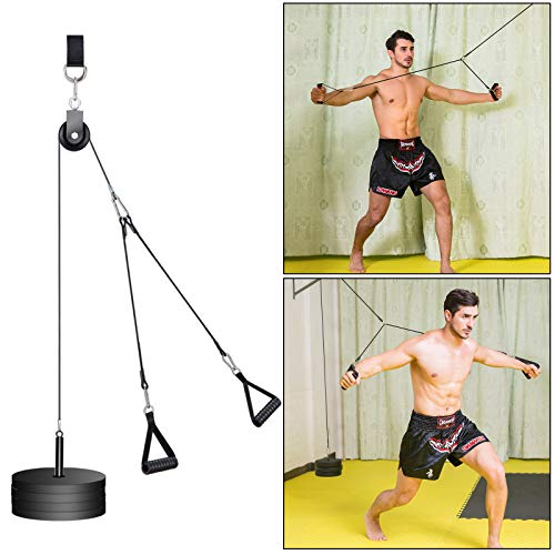 PELLOR DIY Pulley Cable Machine Attachment System, Upgraded 12 Packs Forearm Wrist Trainer Roller Cable Pulley System Home Gym Equipment Workout for Lat Pull Downs, Biceps, Tricep Extensions