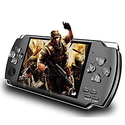 LKTINA 8GB 4.3'' 1000 LCD Screen Handheld Portable Game Console, Media Player with Camera Built in 1200+Real Video Games, for gba/gbc/SFC/fc/SMD Games, Best Gift for Kids and Adults -Black by LKTINA