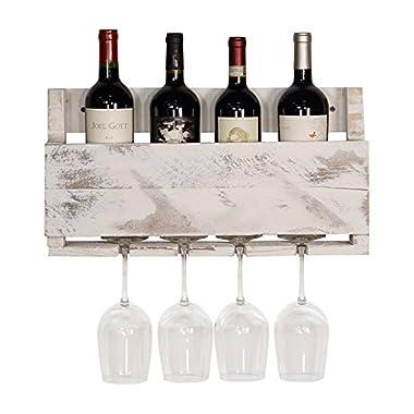 del Hutson Designs - The Little Elm Wine Rack, USA Handmade Reclaimed Wood, Wall Mounted, 4 Bottle 4 Long Stem Glass Holder (White)