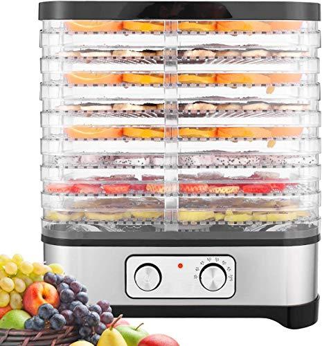 Hopekings Déshydrateur Alimentaire 400W Déshydrateur Fruits et Légumes 8 Plateaux, INOX Gris