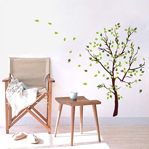 decalmile Pegatinas de Pared Árbol Verde Vinilos Decorativos Hojas Adhesivos Pared Dormitorio Salón Oficina (H: 110 cm)
