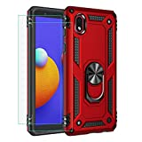 for Samsung Galaxy A01 Core Case Cover, Galaxy M01 Core Case, with Tempered Glass Screen Protector [2Pack],Rebex Tough Protective Ring Kickstand Holder Magnetic Plate Heavy Duty Shockproof (Red)
