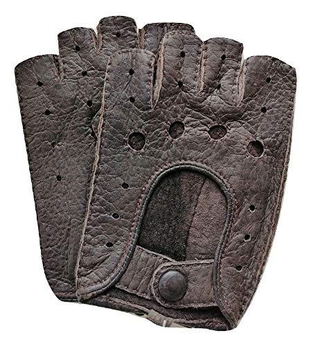 Exklusive fingerlose Auto-Handschuhe aus 100% echtem Peccary Leder, handgenäht, Herren, Damen (9, Dunkel-Braun)