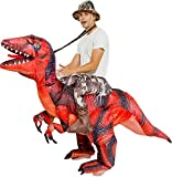 Inflatable Dinosaur Rider Costume Halloween - T-Rex, Velociraptor, Reptile Blow Up with Inflation Fan (Red)