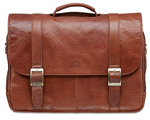 """Mancini Leather Goods Inc Men's Vegetable Tanned Top Grain Buffalo Leather Double Compartment Briefcase for 15.6"""" Laptop Tablet 16"""" x 4.5"""" x 11.5"""" Brown"""