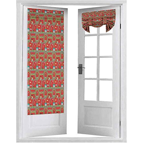 Cortinas de panel de puerta francesas, circuitos con Pit Stop Ganador Podium Gasolinera, 2 paneles-66 x 172 cm, cortina para puerta delantera, multicolor