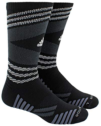 adidas Unisex-US Speed Mesh Basketball/Football Team Crew Socks (1-Pair), Black/White/Night Grey/Onix, 9.5-12