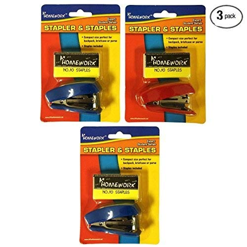 [Bulk Pack] A+ Homework 3 Sets of MiniAssorted Color Staplers with 500 Size 10 Staples - Stationery Supplies for the Home, Office, or Classroom (3 Total Mini Staplers and 1500 Total Size 10 Staples)