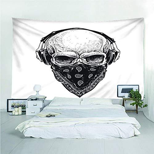 Fymm-Shop Wandtapijt, 3D-print, doodshoofd-masker, draagbaar, licht, multifunctioneel, wandophanging 150(H)X150(An)Cm