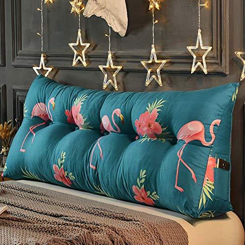 KWOPA - Almohada de lectura triangular con soporte lumbar para cama, cómoda y gran respaldo, cojín de cabecera, con cremallera y bolsillos, 180 cm