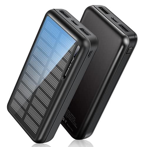 Cargador Solar 30000mAh, Power Bank Solar2021 Nueva Versióncon Entradas Tipo C & Mirco USB, Bateria Externa Portátil con ABR Shell (Pequeño y Poderoso) para iPhone Android Exterior (30000mAh)