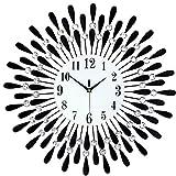 L-SLWI Orologio da Parete in Ferro Orologio Creativo Decorativa del Salone Orologio Elettronico al Quarzo con Sveglia, Il Nero,38 * 38cm