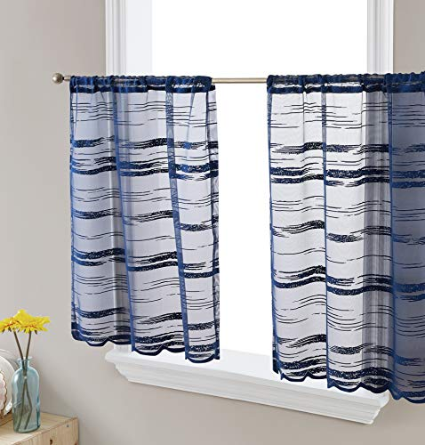HLC.ME Broadway Striped Semi-Sheer Window Curtain Short Tiers for Kitchen, Small Windows and Bathroom (30 x 45 inch Long, Navy Blue)
