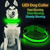 Iseen Collier pour chien LED rechargeable par micro USB - Collier lumineux et confortable en maille...