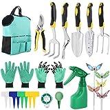 Gobesty Set di Attrezzi da Giardino, 14 Pezzi di Attrezzi da Giardinaggio, Kit di Attrezzi da Giardinaggio, con Impugnatura ergonomica, per Donne/Uomini/giardinieri/Lavoro Genitore-Figlio