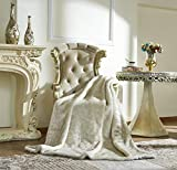 Lindsey Home Fashion Faux Fur Throw, Blankets for Bed Super Soft Fiber, Mink, Wolf, Bear, Coyote, 60'x84', 60'x70', 60'x60' (60x70(INCH), White Ferret)
