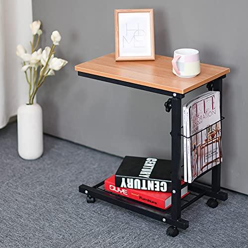 dfgdfg Tavolo da Tavolo Removibile per Computer Portatile Regolabile Tavolino da Tavolo da Letto Comodino Tavolino da Letto del Comodino può Essere Sollevato48x30 Cm,Teak