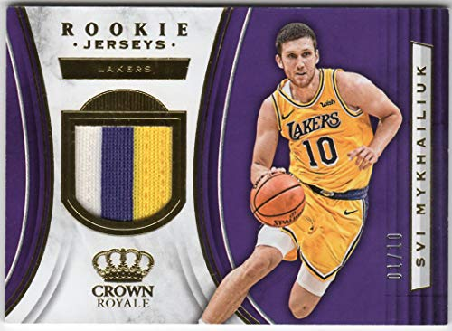 Svi Mykhailiuk 2018-19 Panini Crown Royale Rookie 3 Color Jersey Patch Card Serial #01/10 Los Angeles Lakers