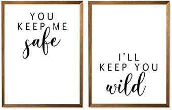 You Keep Me Safe I'll Keep You Wild, Set Of 2 Printables, Bedroom Prints, Minimalist Rustic Wall Art, Above The Bed Prints, Bedroom Quote Wall Art, Love Couple Bedroom Decor - Unframed