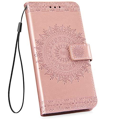 Ysimee kompatibel mit Samsung Galaxy S10 Hülle Handy Schutzhülle [Pu Leder] [Standfunktion] [Kartenfach] [Magnetverschluss] Schlanke Leder Brieftasche Flip Case Protective Tasche, Totem- Rose Gold