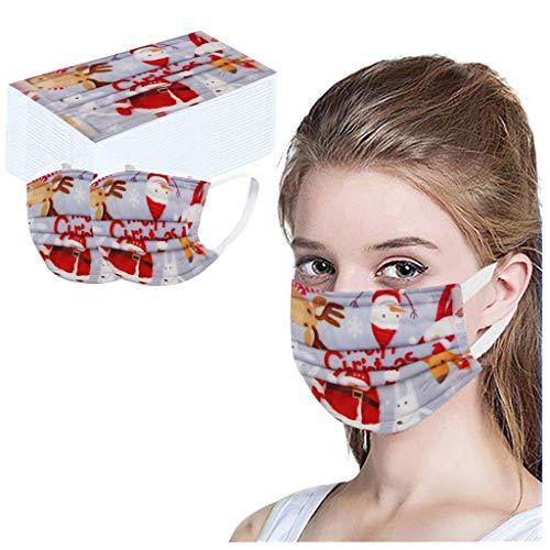 LUCKME 50/100 Stück Mundschutz 3-lagig, Weihnachten Einmal Atmungsaktive Mund und Nasenschutz Halstuch Multifunktionstuch für Damen Herren