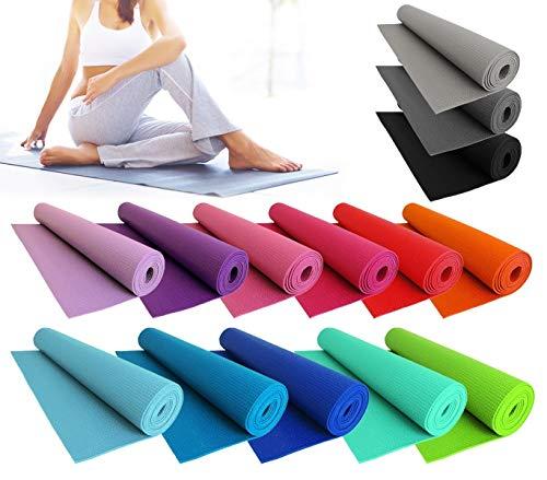 mws Tappeto 173x61cm Comfort per Yoga Fitness e allenamenti Sport Spessore 0,4mm Antiscivolo (Azzurro)