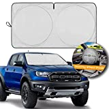Car Windshield Sun Shade, for SUV, Truck and Van with Bonus Steering Wheel Sun Shade, 210T Reflective Sunshades, Folding Sun Shield for Car Windshield Keep Vehicle Cool (Large 65.7 x 36.4 inches)