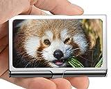 Estuche para tarjetas de visita, caja de tarjeta de visita con soporte de tarjeta de visita panda animal de matemáticas (acero inoxidable)