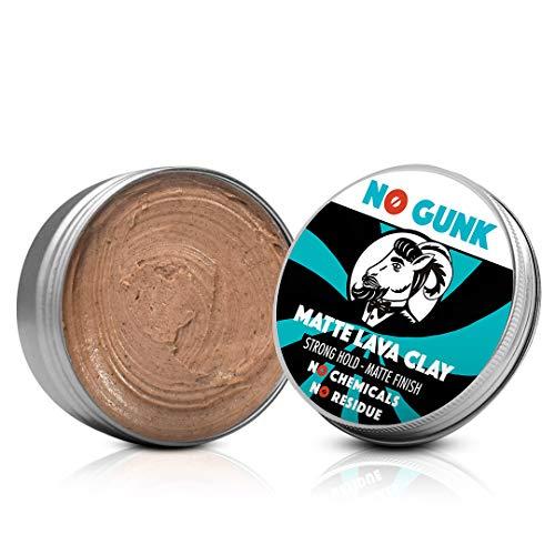 NO GUNK 100% Natürliche Matt Clay Haarwachs/Haarpaste - Starker Halt - Nur mit natürlichen und bio Inhaltsstoffen - Matte Lava Clay (Original, 10g - Testgröße)