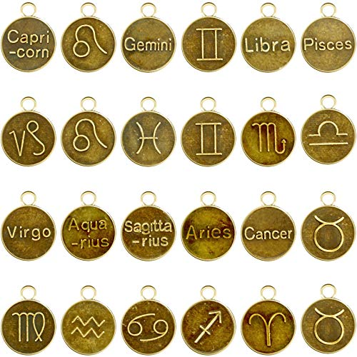 144 Pieces Zodiac Charm Round Metal Charms Double Sided Charms 12 Zodiac Charm Pendant for Bracelet Earrings Necklace Pendants Jewelry Making Supplies