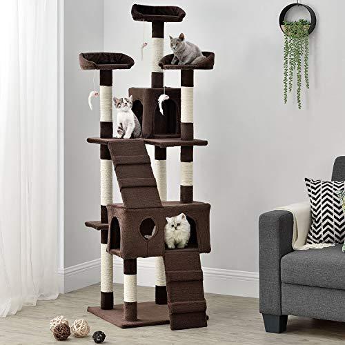 Sam´s Pet Katzen-Kratzbaum Amy braun | Katzenbaum inkl. Höhlen, Liegeflächen, Treppen & Sisal Stämme | 170 cm hoch | Katzenkratzbaum