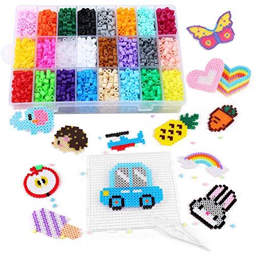Winthai 4300 PCS Perline da Stirare, Perline a Fusione, 5mm Mini Fuse Beads, 24 Colore Perline con Carta da Stiro e Pinzetta, Craft Beading Kit per Bambini Fai da Te Artigianato Giocattoli Educativi