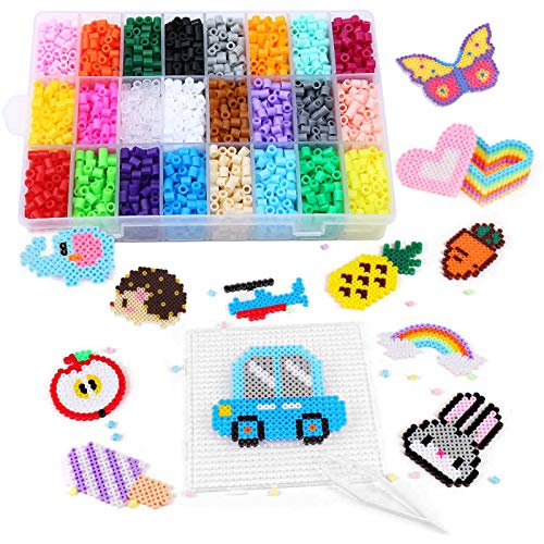 Winthai 4300 PCS Perline da Stirare, Perline a Fusione, 5mm Mini Fuse Beads, 24 Colore Perline con Carta da Stiro e Pinzetta, Craft Beading Kit per Bambini Fai da Te Artigianato Giocattoli Educativi