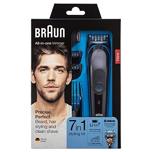 Braun Multigroomer 81679634 Rasierer für den Bart, schwarz, blau (0,5 mm, 2,1 cm, 2 mm, Vollbart, langer Bart, kurzer Bart, Dreitagebart, Knöpfe, LED)