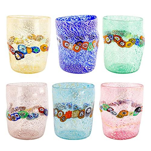 Juego de 6 vasos de cristal de Murano y hoja de plata para horno, auténticos y resistentes, ideales para el uso diario.