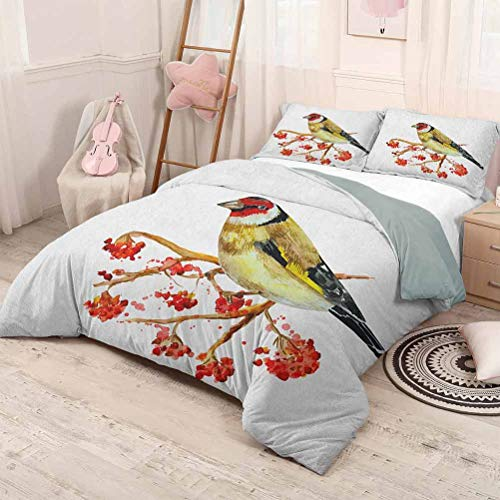 HELLOLEON (King) Rowan Pure Bedding Hotel Luxury Bed Linen Watercolor Painting Style Cute Wild Bird on Branch with Berries Artwork Polyester - Soft and Breathable Earth Yellow Red Black