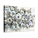 ARTISTIC PATH White Rose Canvas Flower Painting: Abstract Floral Bouquet Artwork Hand Painted Picture for Bedroom (36' W x 24' H)