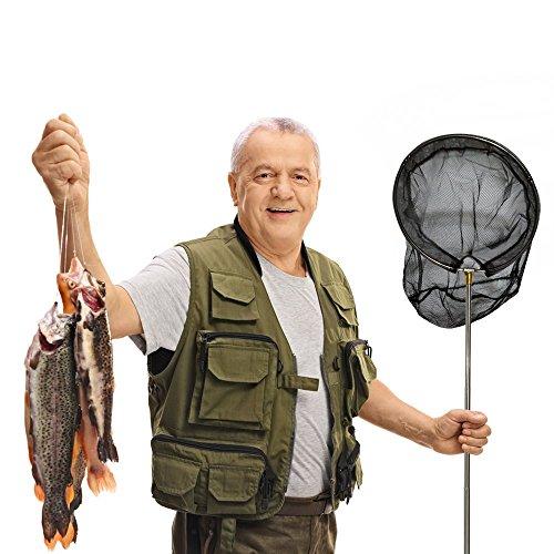 VPROZ Retractable Fishing Net for Men, Women & Children| Telescoping & Non-Slip Rubber Handle, Deep Net & Stainless Steel Rod | for Aquarium, Lakes, Ponds, Saltwater & Fly Fish, Kayak, Boat & More