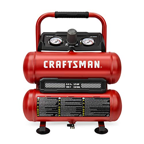 CRAFTSMAN Air Compressor, 2 Gallon Portable Air Compressor, Twin Tank, 1/3 HP Oil-Free Max 125 PSI Pressure, Model: CMXECXA0220242, Red