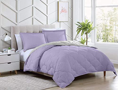 3-Piece Lavender/Gray Reversible Goose Down Alternative Comforter Set, Duvet Insert w/ Corner Tabs- Machine Washable, Queen Size