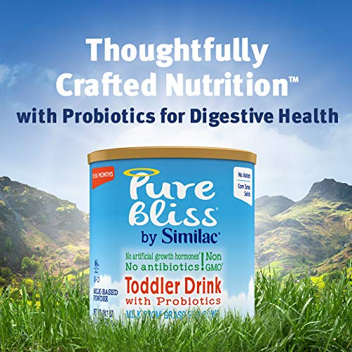 Pure Bliss by Similac Toddler Drink with Probiotics, Starts with Fresh Milk from Grass-Fed Cows, Non-GMO Toddler Formula, 24.7 Oz, 6Count