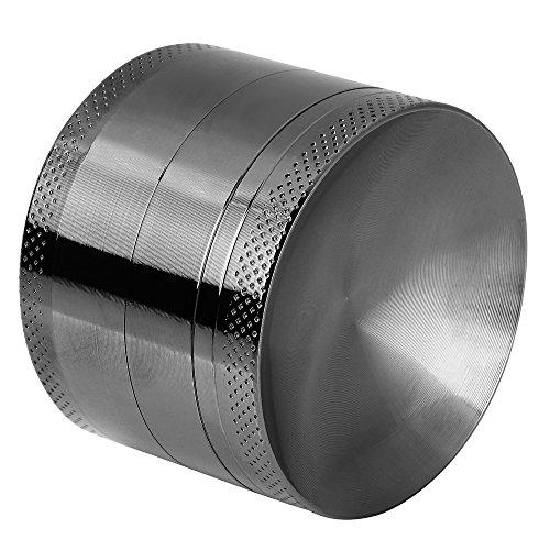 Anpro Premium Aluminium Pollen Grinder Crusher für getrocknete Tabak, Herb, Kräuter, Gewürze, Herb. Ø55mm, 4-teiliges Set mit Mini-Scraper, Schwarz, MEHRWEG