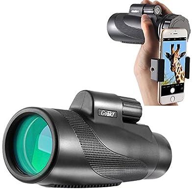 Gosky Titan High Power Prism Monocular and Quick Smartphone Holder -Waterproof Fog- Proof Shockproof Scope