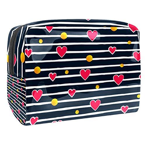 Bolso de Cosméticos Rayas de Corazones de Amor Neceser de Viaje para Mujer y Niñas Organizador de Bolso Cosmético Accesorios de Viaje Estuche de Maquillaje 18.5x7.5x13cm