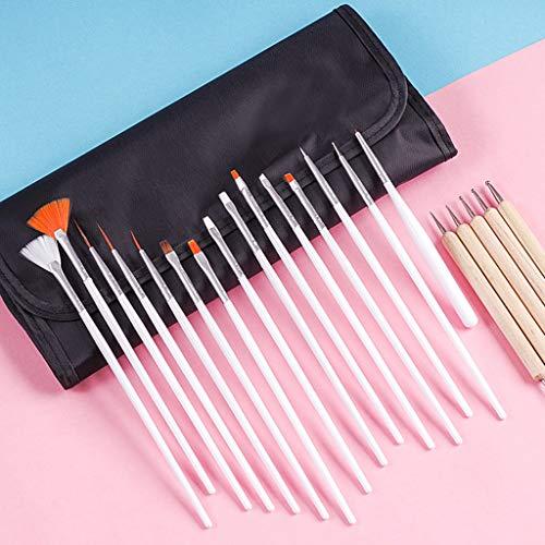 HoneyGod Nail Art Supplies with 15Pcs Brushes Set with 5Pcs Dotting Pens - 3D 2 Way Glitter Nail Diamonds Rhinestones Kit Dotting Pen Tool Dot Paint Manicure Kit Nail Art Tip Photo #9