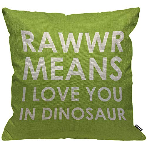 HGOD DESIGNS Cushion Cover Rawr Means I Love You in Dinosaur Green White,Throw Pillow Case Home Decorative for Men/Women Living Room Bedroom Sofa Chair 18X18 Inch Pillowcase 45X45cm