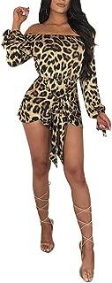 Women Sexy Mock Neck Sleeveless Leopard Print Split Jumpsuit Rompers Clubwear